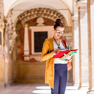 Student in the oldest university in Bologna city