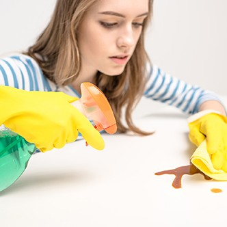Woman removing stain