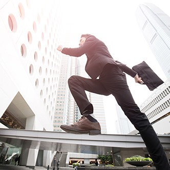 businessman is running in honkong
