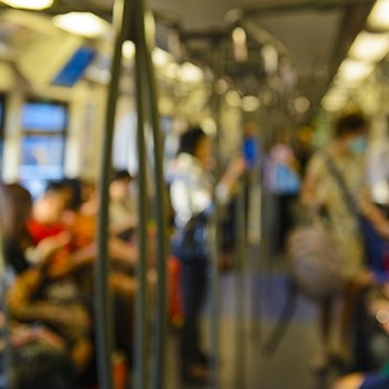 Out of focus inside subway train